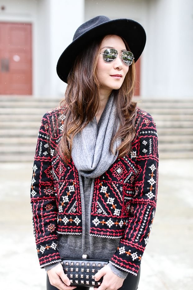 Style: Embroidered Jacket and Faux Leather Leggings - Stylewich