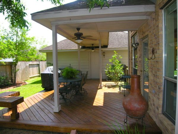 Enclosure Artistic Outdoor Wood Patio Cover Designs With Diagonal Vinyl Plank Flooring Also L Shape Small Backyard Patio Covered Patio Design Patio Landscaping