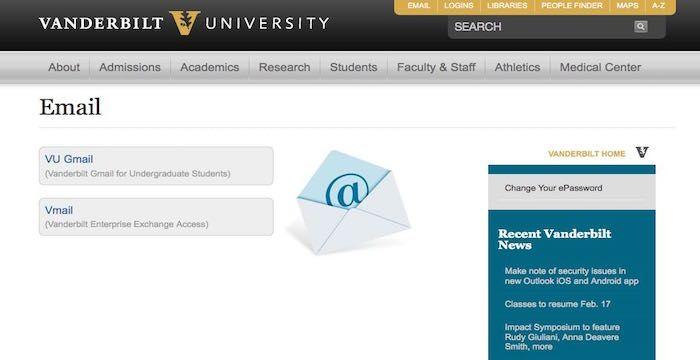 Vanderbilt Email Login Page URL University search