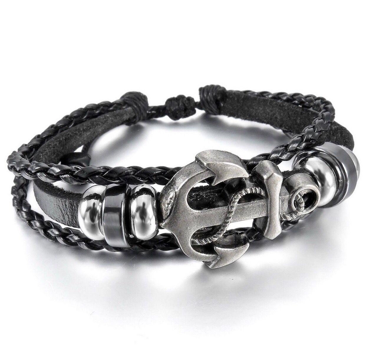 Menwomenus alloy genuine leather bracelet bangle cuff cord black