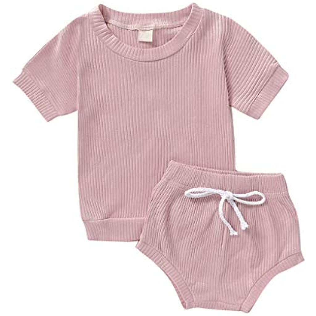 Toddler Kids Baby Girls Boys Solid T Shirt Tops + Bow Shorts 2PCS Outfits Set