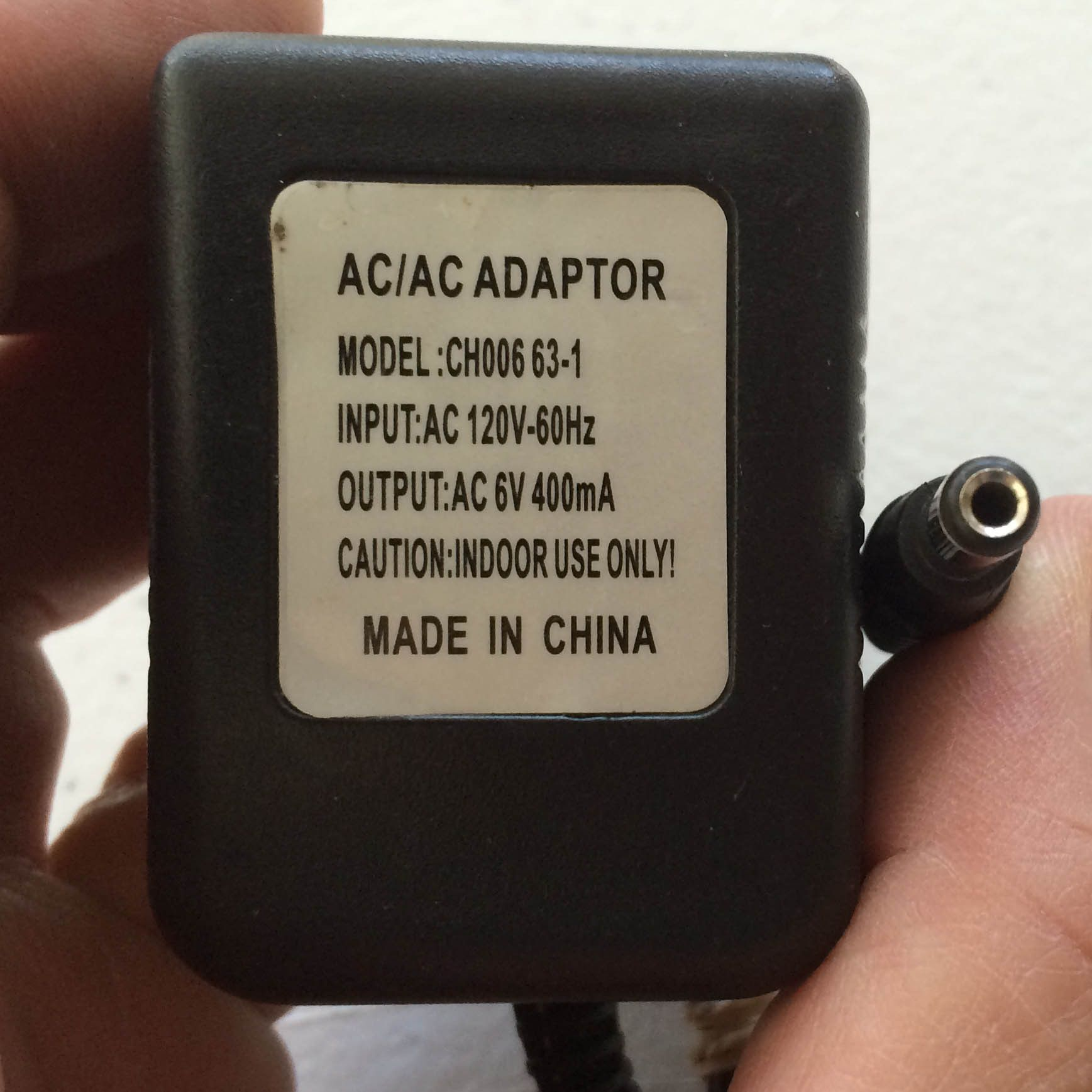 Model: CH006 63-1 (CH00663-1), Output: AC 6V 400mA Power Supply AC
