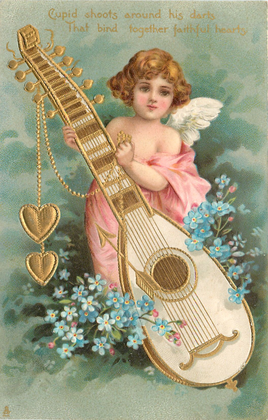 Full Sized Image: CUPID SHOOTS AROUND HIS DARTS THAT BIND TOGETHER FAITHFUL HEARTS cupid supports large lute from which hearts dangle, blue forget-me-nots - TuckDB
