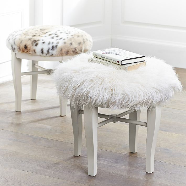 Life Love Larson Look For Less Challenge Faux Fur Vanity Stool