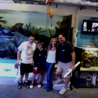 Zach, Sam, Agnes, and I at ATM's office where they film Tanked.