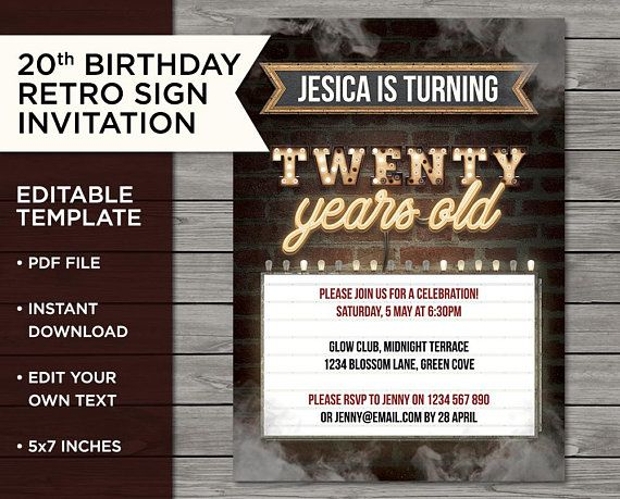 20th Retro Birthday Steampunk Invite 20 Years Old Edit At Home Print Your Own