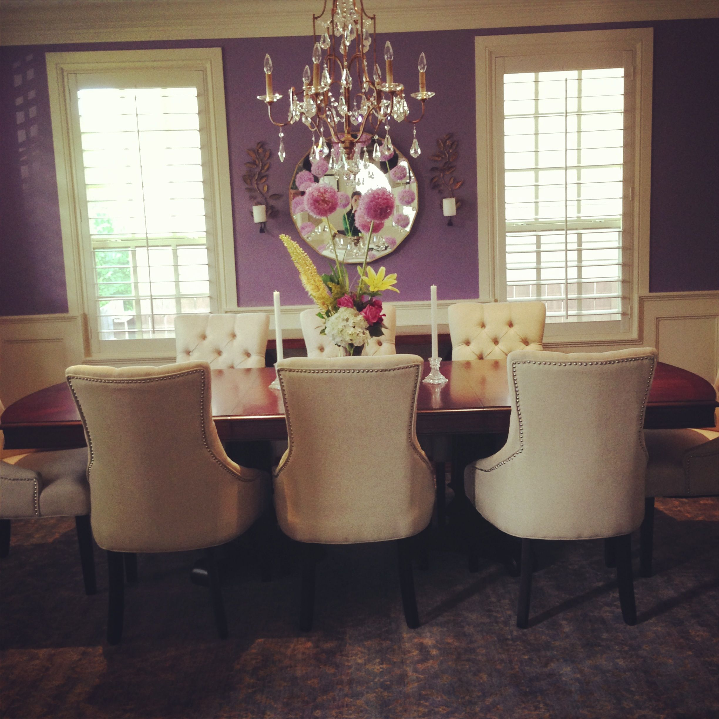 Purple dining room - Gerald Pomeroy Design Group Styled By Kyle Hoepner Photographer Bruce Buck New England Home Magazine Dining Rooms Pinterest