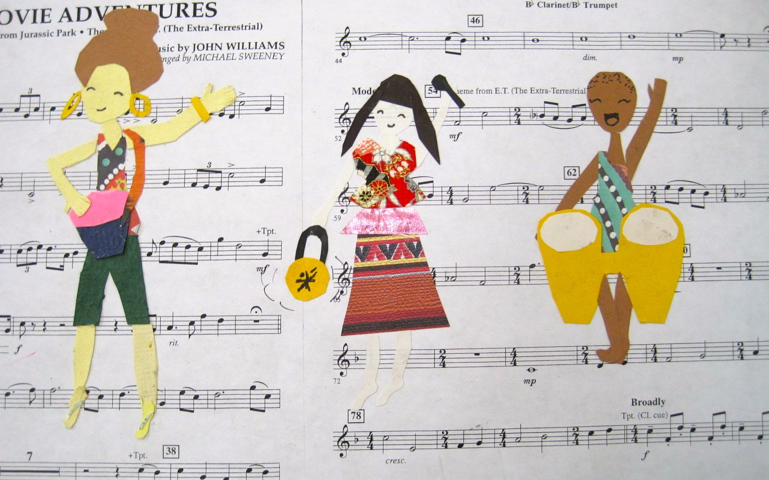 Third Grade Picasso Three Musicians Shapes Collage