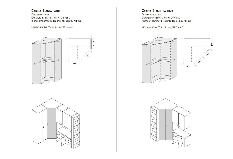 Dimensioni ed esempi compositivi cabina armadio Start-Angolare ...