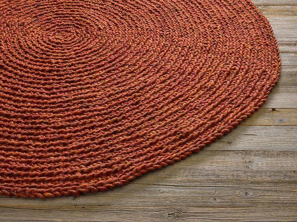 Schafschurwoll-Teppich MAGLIA, Braun/Orange, 100  Schafschurwolle - Teppich Wohnzimmer Braun