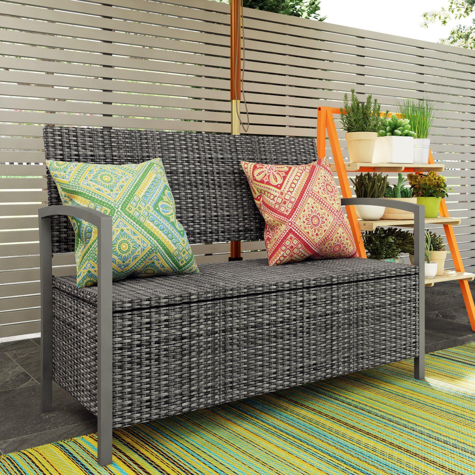 Sol 72 Outdoor Rattan Storage Bench Wayfair Co Uk Storage