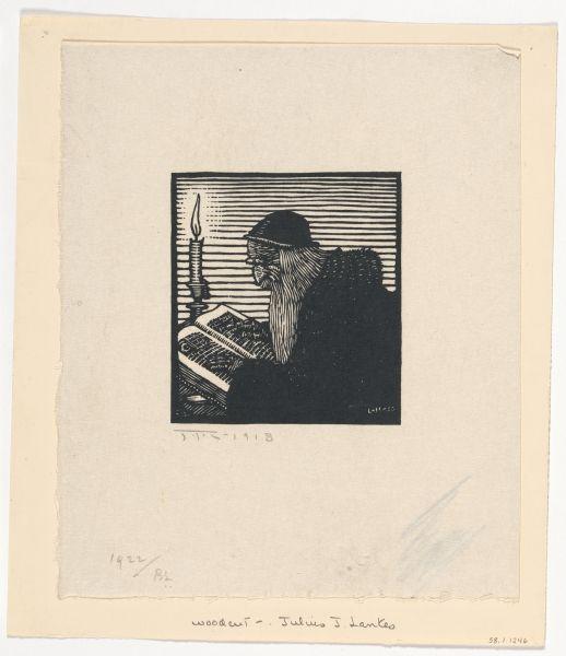 Julius J. Lankes (American, 1894-1960). Man in Skull Cap Reading, 1918, Woodcut