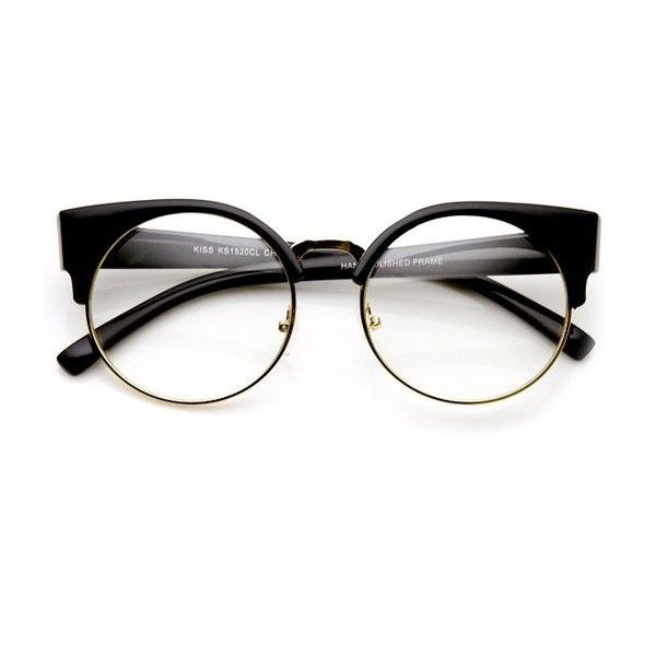 womens half frame semi rimless clear lens cat eye round glasses php liked on polyvore featuring accessories eyewear eyeglasses glasses round black