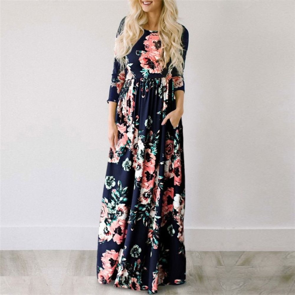 Boho Floral Print Long Dress