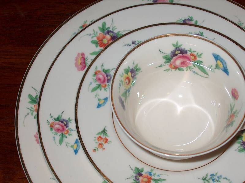 LOT SELMA 65 pieces of Syracuse China Table Flower/floral Dinnerware Set & LOT SELMA 65 pieces of Syracuse China Table Flower/floral ...