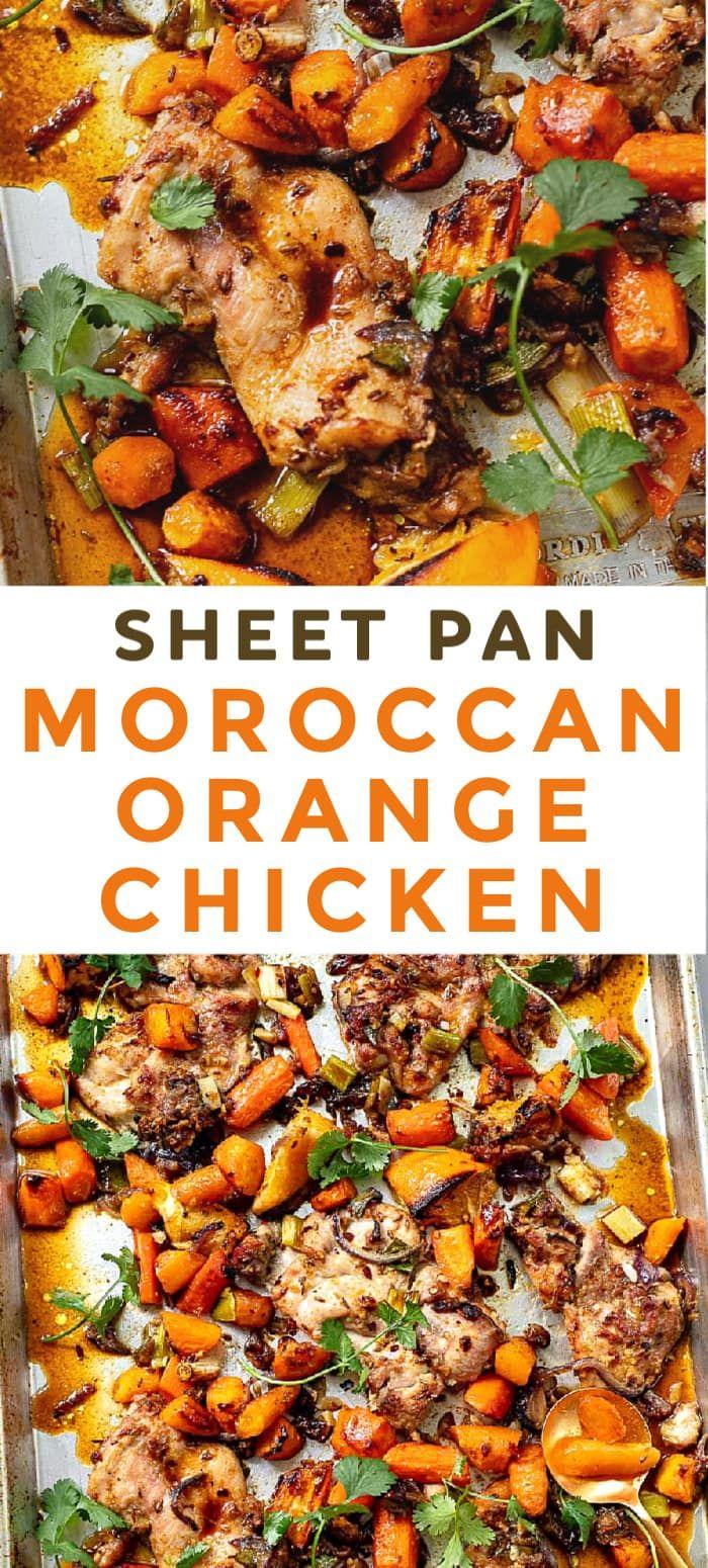 Moroccan Orange Sheet Pan Chicken #onepandinnerschicken