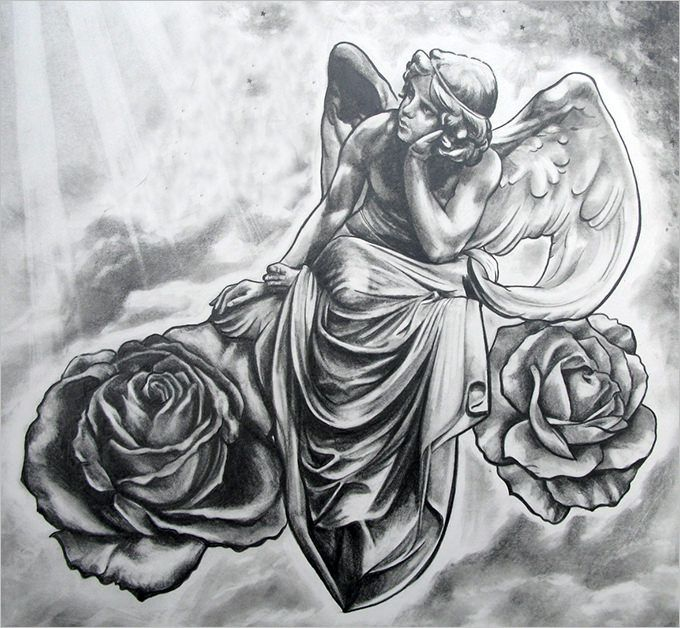 Pencil sketches of angels jpg 680x628