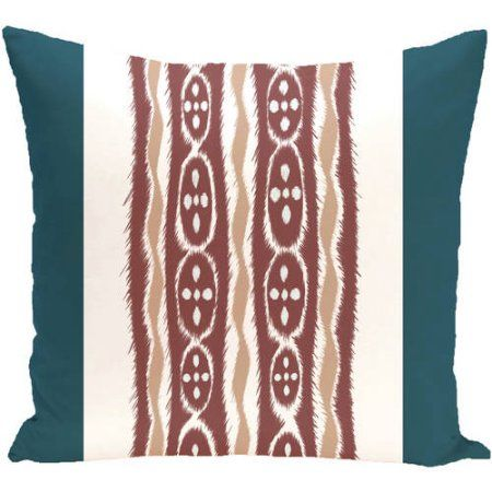 Simply Daisy 16 inch x 16 inch Ikat Ribbon Stripes Print Outdoor Pillow, Blue