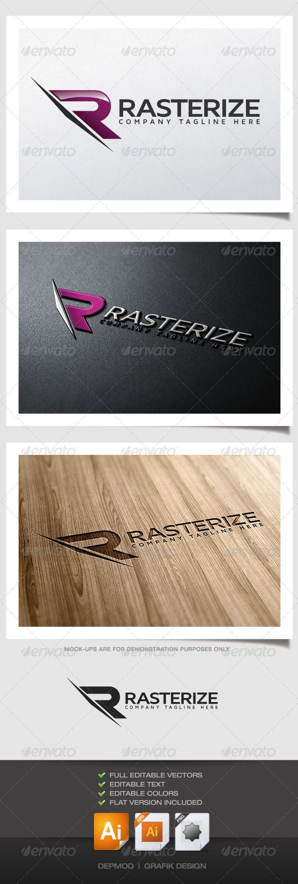 Rasterize Logo Logo of a stylized dynamic R letter. Can be used for many kind of project. Full vectors, this logo can be easily resize and colors can be changed to fit your colors project. Flat version for print also included. The font used is in a download file in the package.