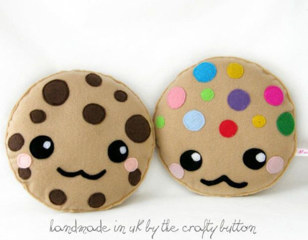 Kawaii Cookie Plush Toy Cushion Cute Chocolate Chip Cookie M M Cookie Cartoon Face Cute Pillow Felt Kawaii Cookies Kawaii Felt Cute Plush