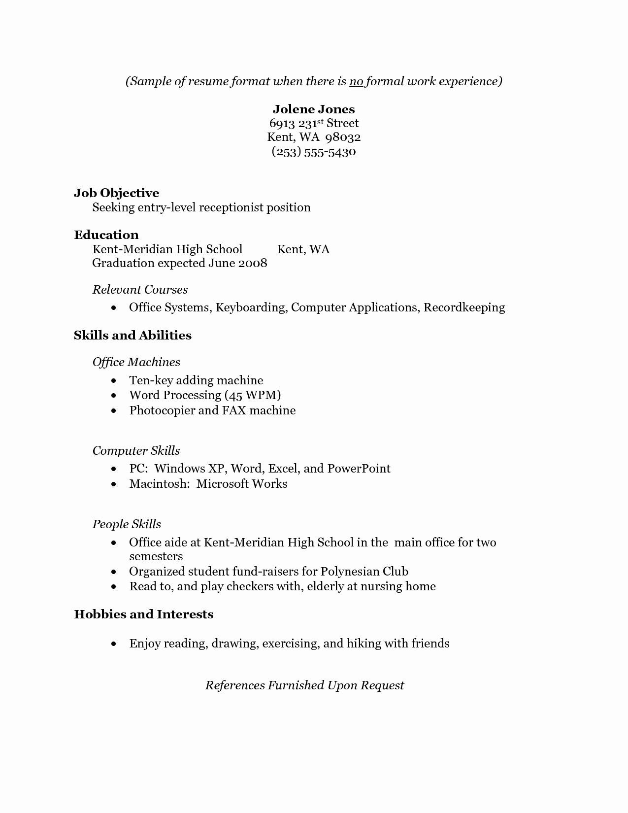 Resume For Receptionist With No Experience Printable Resume Template Job Resume Examples Professional Resume Examples Resume No Experience