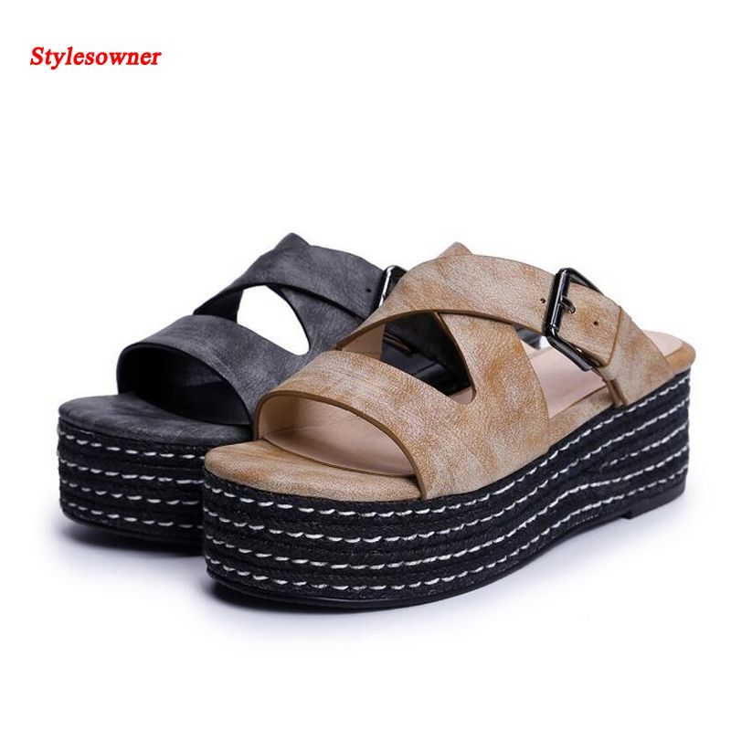 Stylesowner Genuine Leather Women Lady Belt Buckle Slipper Shoe 2017 Summer Muffin Platform Open Toe High Quality Slides