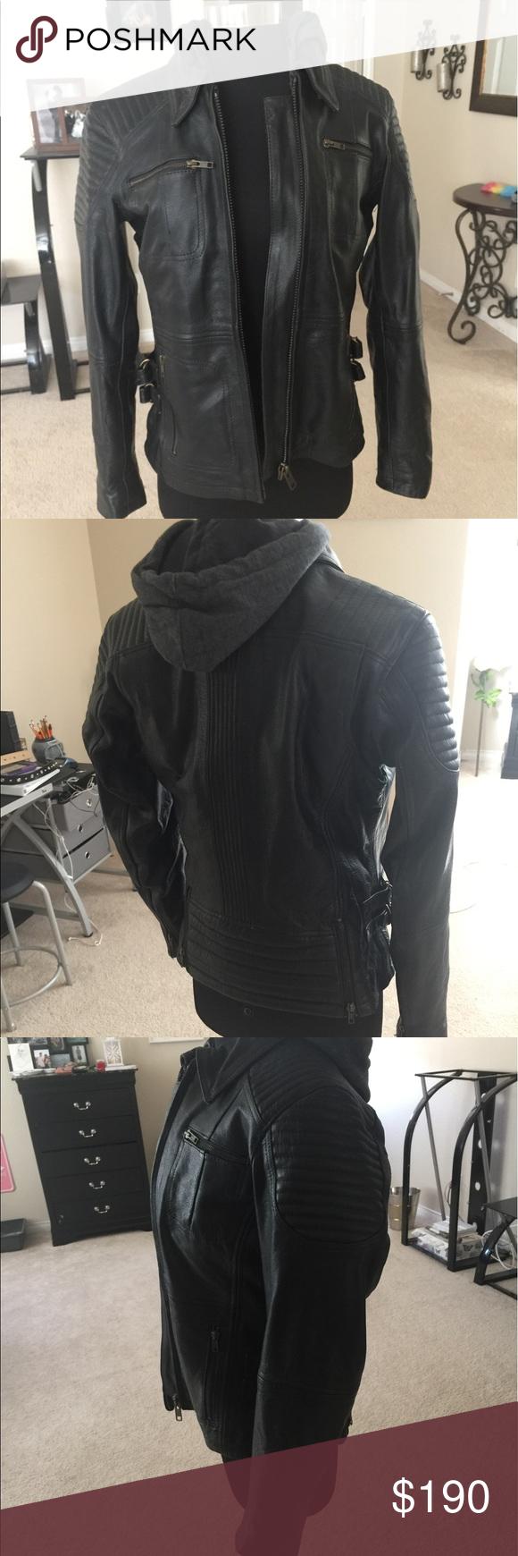 Black hooded motorcycle jacket Size small. Has gray hooded sweatshirt inside unknown Jackets & Coats