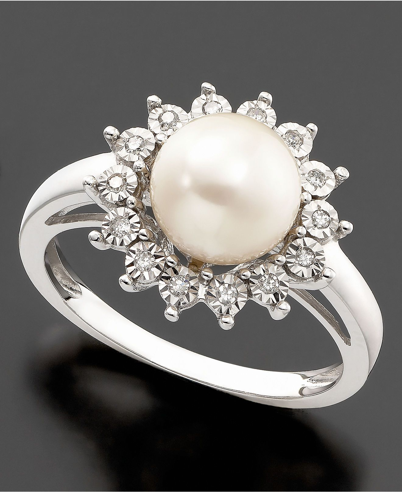 10k White Gold Ring Cultured Freshwater Pearl Diamond Accent