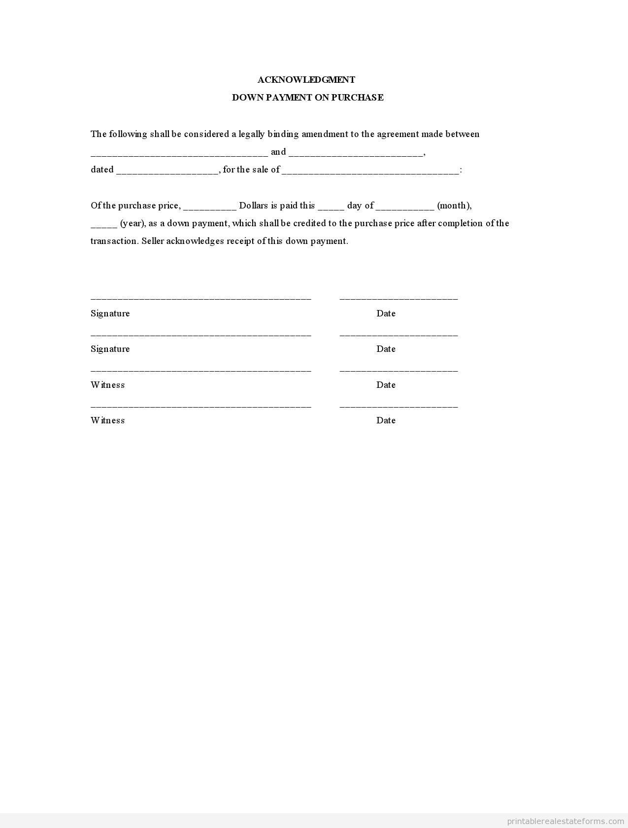 sample printable acknowledgment down payment on purchase form