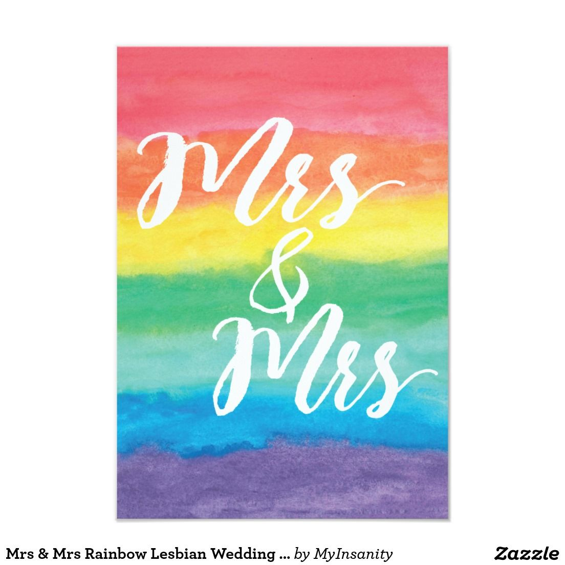 Mrs Mrs Rainbow Lesbian Wedding Invitation Weddings