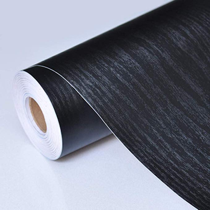 Black Wood Grain Paper Self Adhesive Shelf