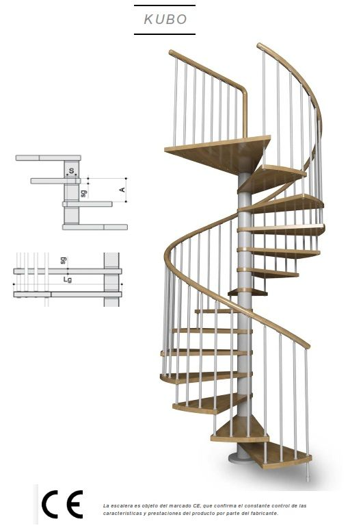 Escalera de caracol con pelda os de madera modelo de enesca kubo ideas para el hogar - Medidas escaleras de caracol ...