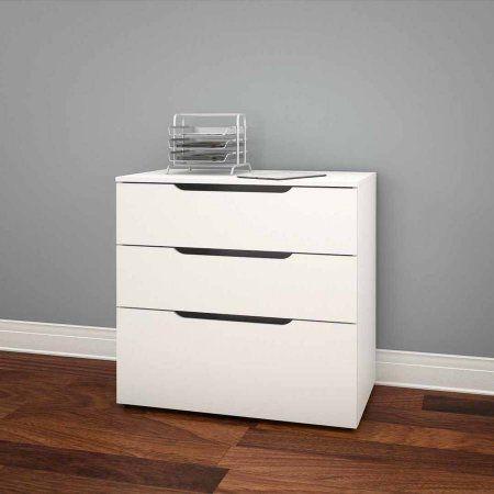 Nexera Arobas 3 Drawer Filing Cabinet White Walmart Com With