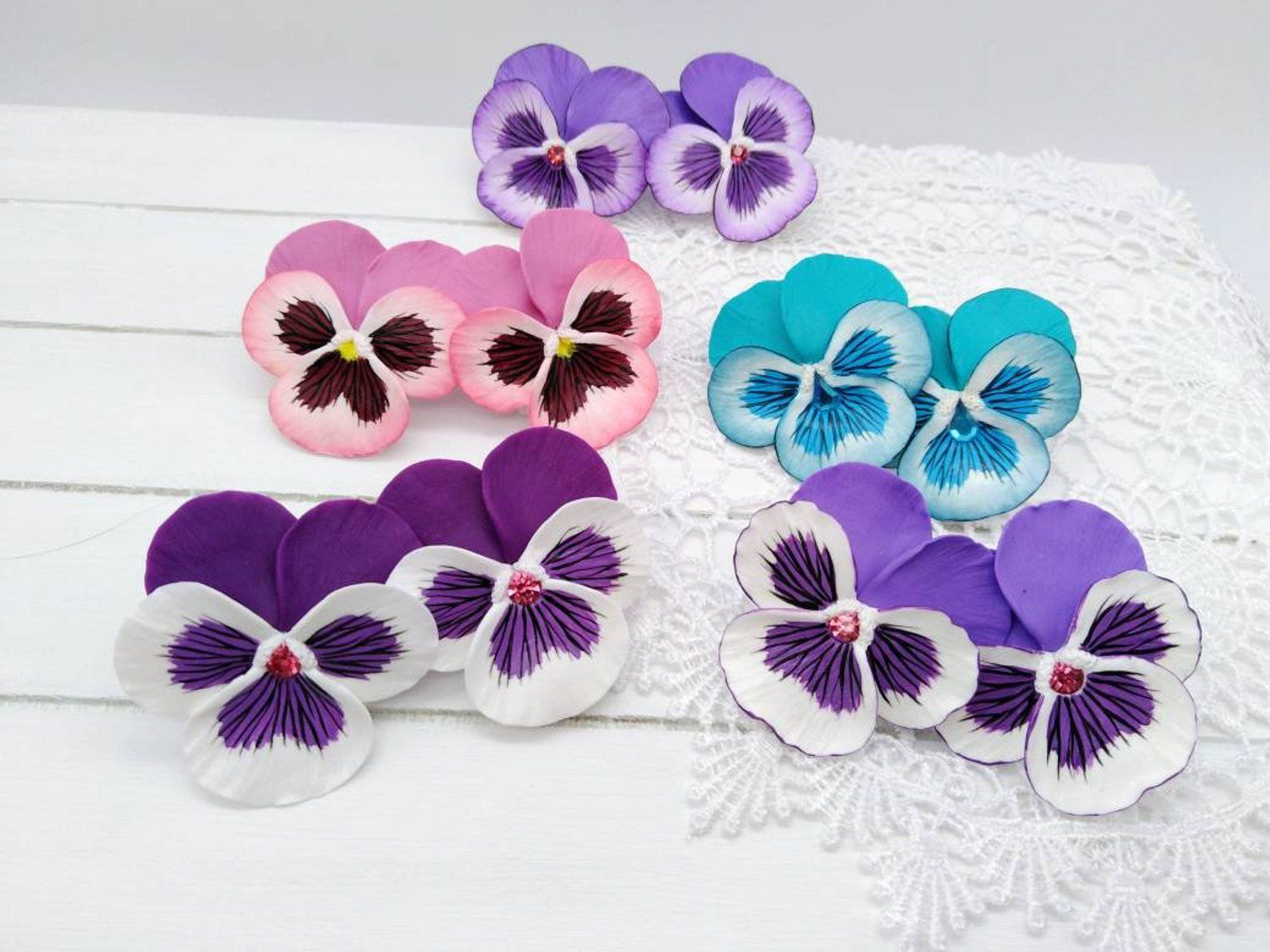 Stud Earring Pansie Polymer Clay Pansy Jewelry Summer Flower Etsy Polymer Clay Flowers Clay Flowers Clay Earrings