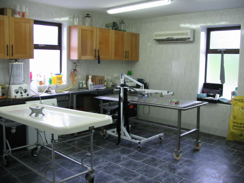 Embalming Room With Embalming Table On Left Dressing Table