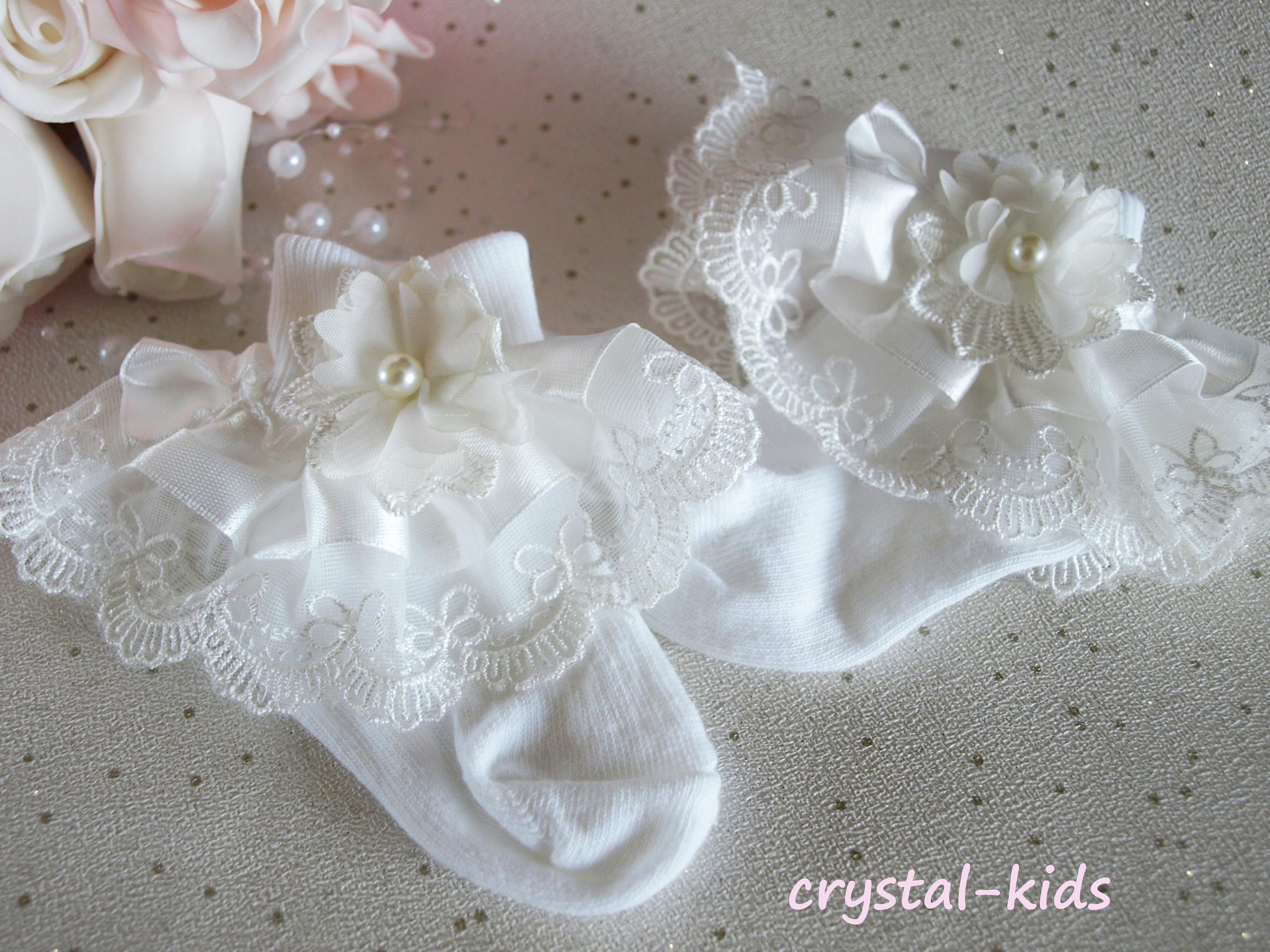 STUNNING Baby Girls Socks Christening Wedding Baptism Socks Baby