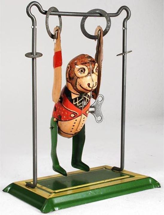 Marx 1930 Tumbling Monkey And Trapeze Blechspielzeug Spielzeug