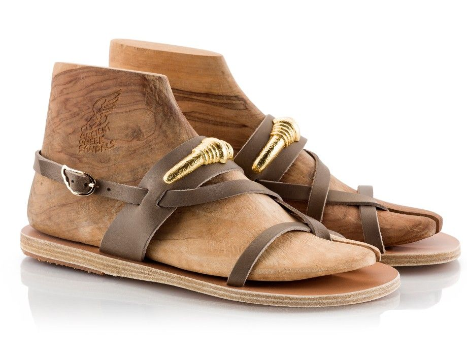 Ancient Greek Sandals DILOS Ilias LALAoUNIS Gold-plated jewlery leather  sandals