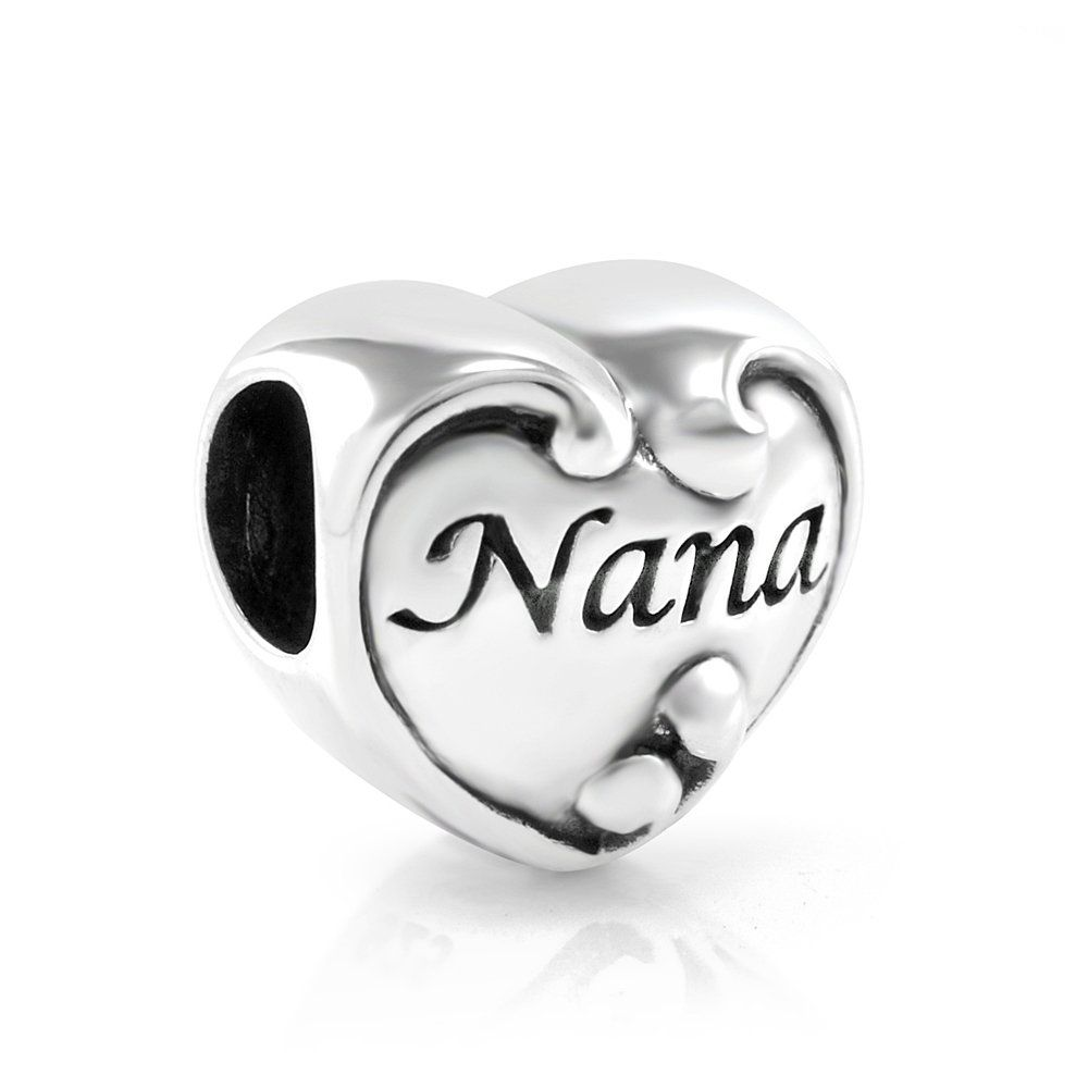 b70b7a8e6 Amazon.com: 925 Sterling Silver Heart Love Nana Bead Charm: Nana Charms For  Pandora: Jewelry