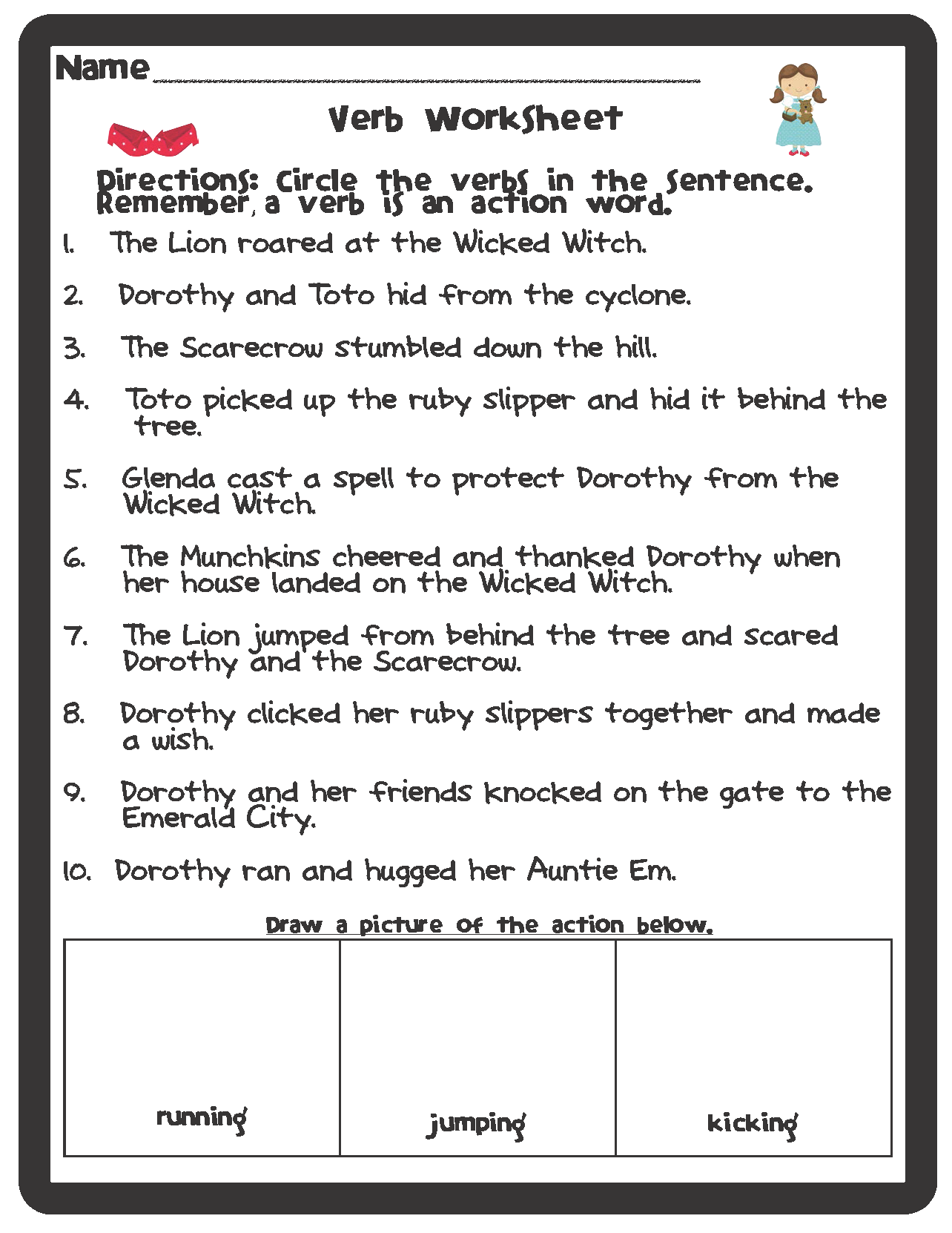 Parts Of Speech Wizard Of Oz Themed Worksheets Freebie Easy Elementary Ideas