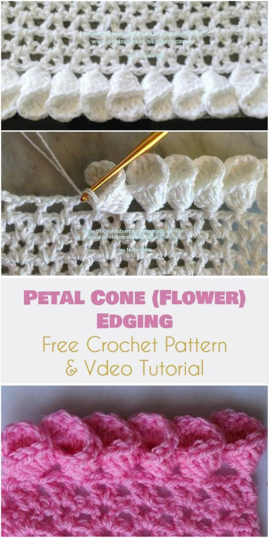 Petal Cone (Flower) Edging for Afghans [Free Crochet Pattern and ...