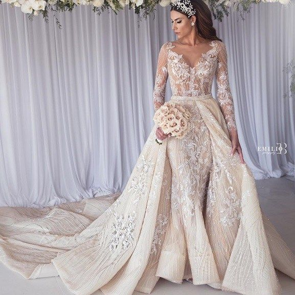Long Sleeve Wedding Dress With Detachable Two In One Bridal Gowns