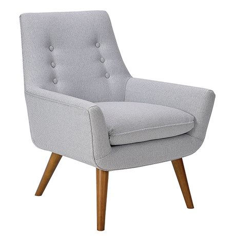 Wonderful With Its Curved Contours And Button Back Detailing, The Retro Hazelnut Leg  Fabric Armchair Shows A Softer Side Of Mid Century Style.