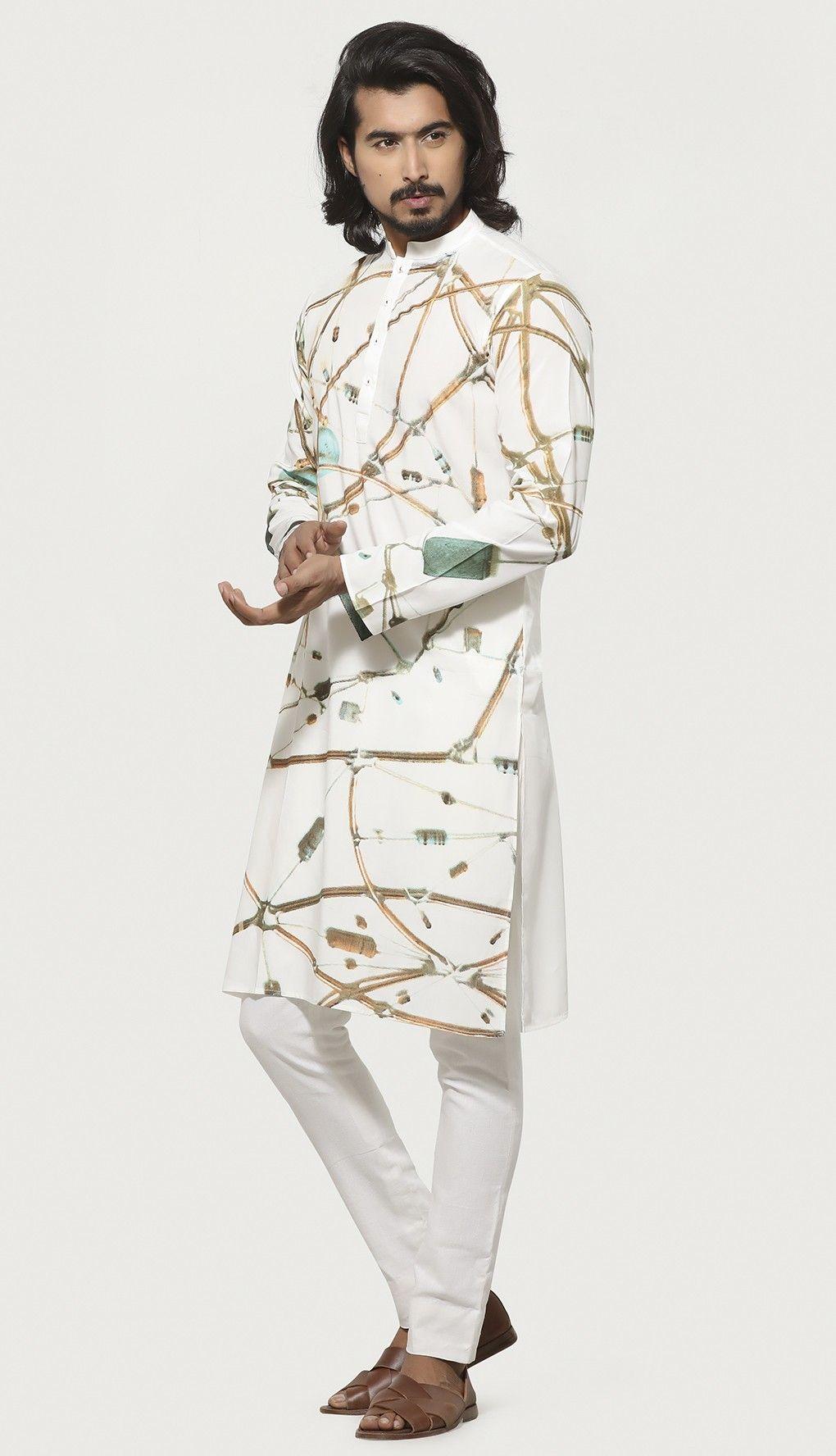1039e4b588 White Printed Slim Fit Linen Panjabi   Men clothes in 2019   Prints ...