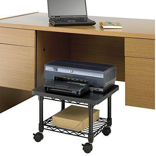Safco Mobile Under Desk Printer Fax Machine Stand Black Shelf Rolling Wheels New Printer Stand Safco Black Shelves