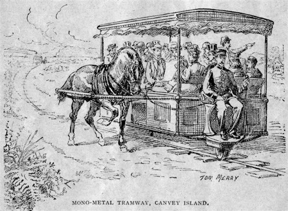 Unique horse-drawn Monorail 1902 to Canvey Island (Essex, UK)