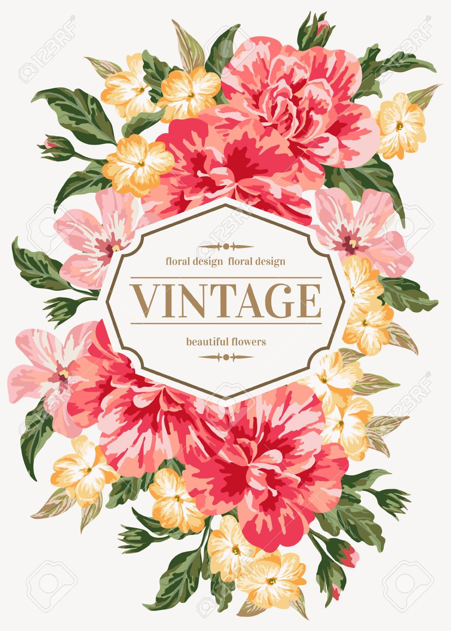 Vintage Greeting Card With Colorful Flowers Buscar Con Google W