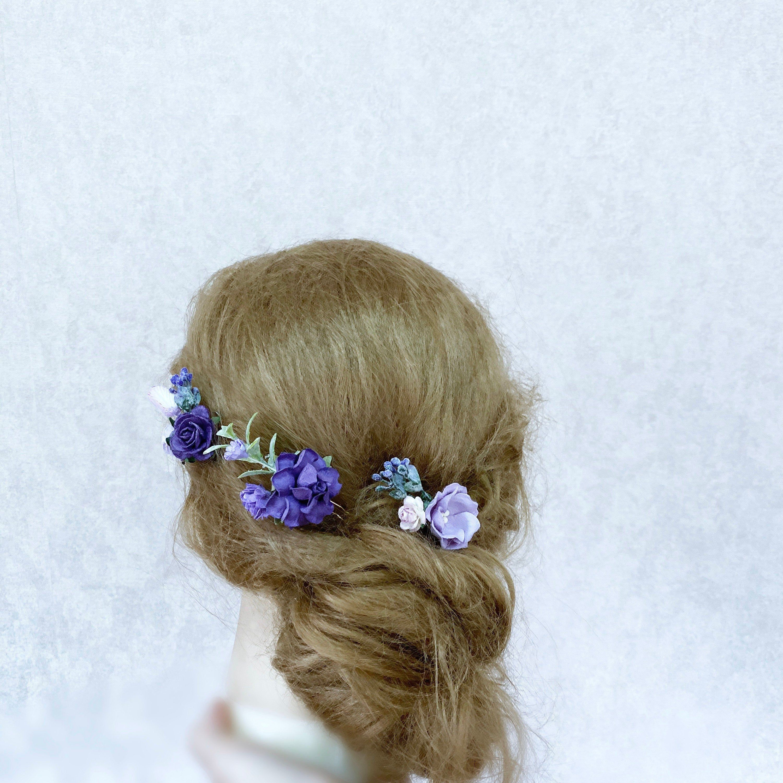 Flower Hair Pins Lilac Hair Flowers Set Of Hair Pins Bridal Hair Piece Purple Purple Hair Pins Hair Comb Wedding Lavender Hair Piece In 2020 Flower Hair Pin Lilac Hair Dye