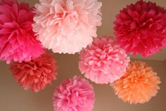 Pink Love .. Tissue Paper Poms / Weddings / Bridal par PartyPoms, $30.00