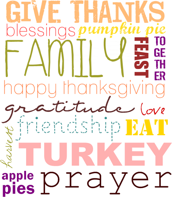Two Shades of Pink - Thanksgiving word art